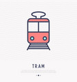 tram thin line icon front view vector image vector image