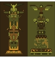 two colored totem poles vector image