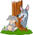 wolf hunt a rabbit sleeping under vector image vector image