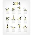 Yoga calendar 2014 for your design vector image