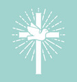 christian cross with dove religious sign vector image