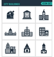 Set of modern icons City buildings vector image