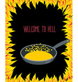 Heated frying pan with boiling oil for sinners vector image