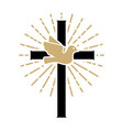 pigeon with cross religious sign vector image