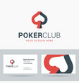 Logotype and business card template for poker club vector image