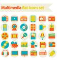 Multimedia flat icons set vector image