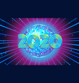 2020 new year blue disco ball background vector image vector image