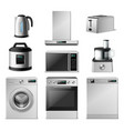 3d kitchen appliance realistic metal household vector image