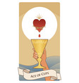 aces tarot cards cups hand holding a golden vector image vector image