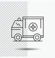 ambulance truck medical help van line icon on vector image vector image