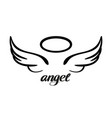 angel wings and halo icon sketch religious vector image vector image