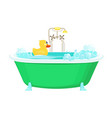 bathroom yellow duck relax water foam bubbles vector image