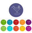 cocktail icons set color vector image vector image
