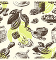 cocoa hand drawn sketch seamless pattern vector image vector image