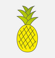 colorful drawn ripe yellow pineapple with green vector image vector image