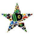 Colorful entertainment and music icons in star vector image