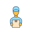 courier flat line icon on white background safety vector image