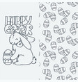 cute little rabbit with egg cartoon hand drawn vector image vector image