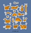 cute striped cats family sticker set for your vector image vector image