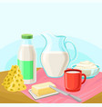 dairy products rural landscape with cow vector image