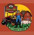 Farmer pose with his tractor and farm yard