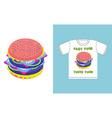 Fast food - toxic food Hamburger in acid colors a vector image vector image