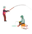 fishing fishermen catches fish fisher threw vector image vector image