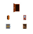 flat icon approach set of approach door lobby vector image vector image