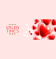 happy valentines day background with red hearts vector image