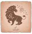 Leo zodiac sign horoscope vintage card vector image vector image