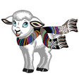 little lamb wearing scarf vector image vector image