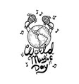 live world music day concept background hand vector image vector image