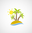 logo beach with palm trees ocean and sun vector image
