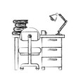 monochrome blurred silhouette of desk home with vector image vector image