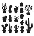 monochrome set of various cactus in pots vector image vector image