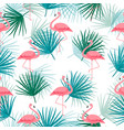 palm leaf and with cartoon pink flamingo seamless vector image