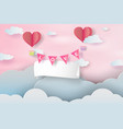 paper art and craft of happy valentine daypaper vector image