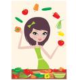 pretty girl prepares salad vector image vector image