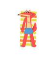 red fox sunbathing on the beach cute animal vector image vector image