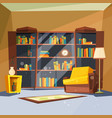 room with books house apartment with home library vector image vector image