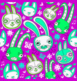 seamless pattern with doodle rabbits vector image