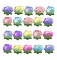 set of colorful flower buds isolated on white vector image