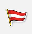 sticker flag austria on flagstaff vector image vector image