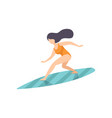 surfer girl in swimsuit riding waves young woman vector image vector image