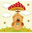 teddy bear with amanita vector image