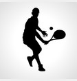 tennis player black silhouette on white vector image vector image