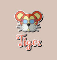 tiger head sticker flat icon tiger vector image vector image