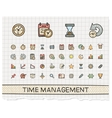 Time management hand drawing line icons vector image vector image