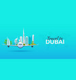 travel to dubai airplane with attractions travel vector image vector image