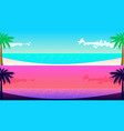 two sea shore panoramas with palm trees for web vector image vector image
